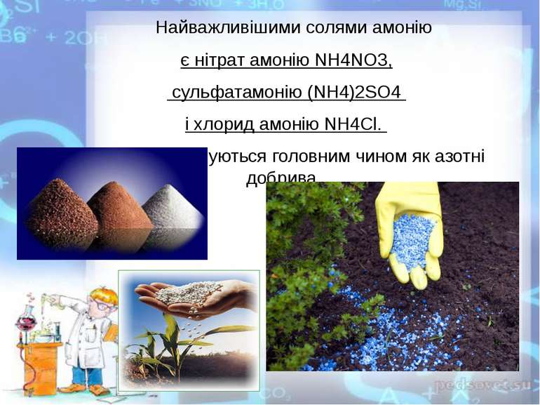 Найважливішими солями амонію єнітрат амоніюNH4NO3, сульфатамонію(NH4)2SO4...