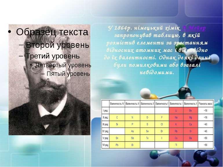 У 1864р. німецький хімік Л.Мейєр запропонував таблицю, в якій розмістив елеме...