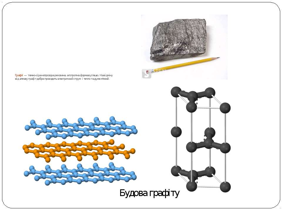Графіт— темно-сіра непрозора речовина, алотропна формавуглецю. На відміну в...