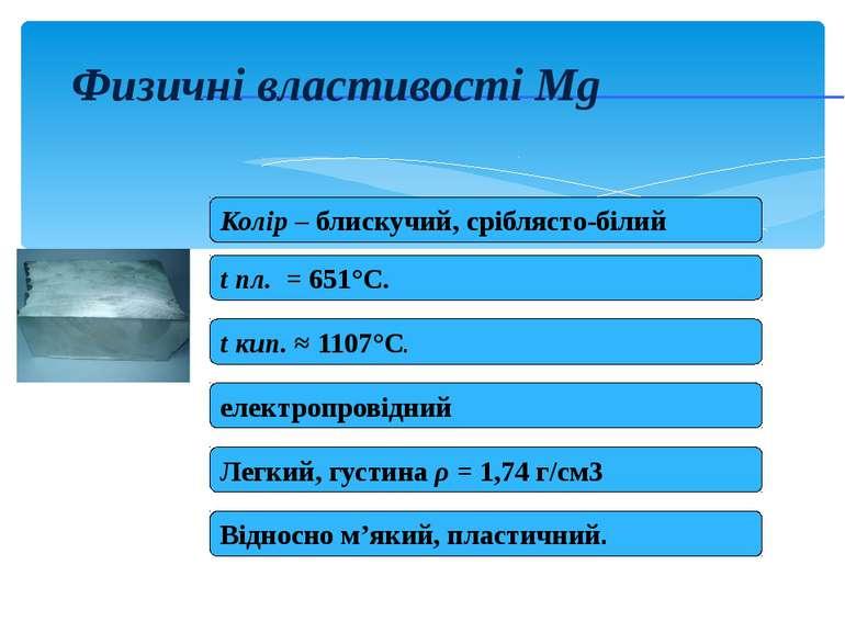 Физичні властивості Mg Колір – блискучий, сріблясто-білий t пл. = 651°C. t ки...