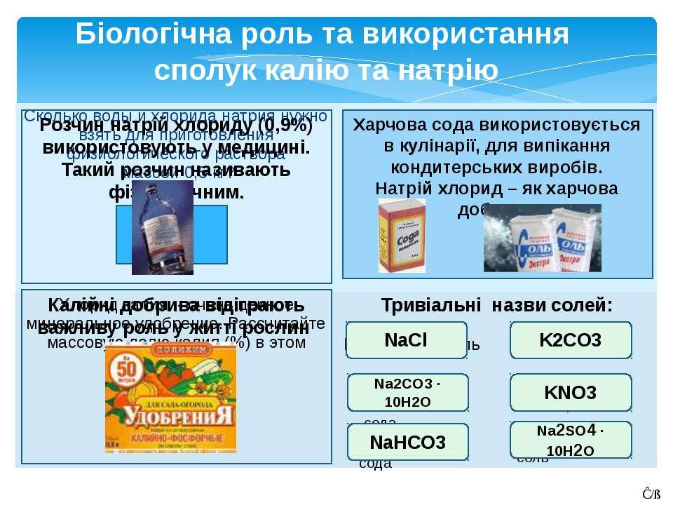 Біологічна роль та використання сполук калію та натрію ответ ответ ответ NaCl...