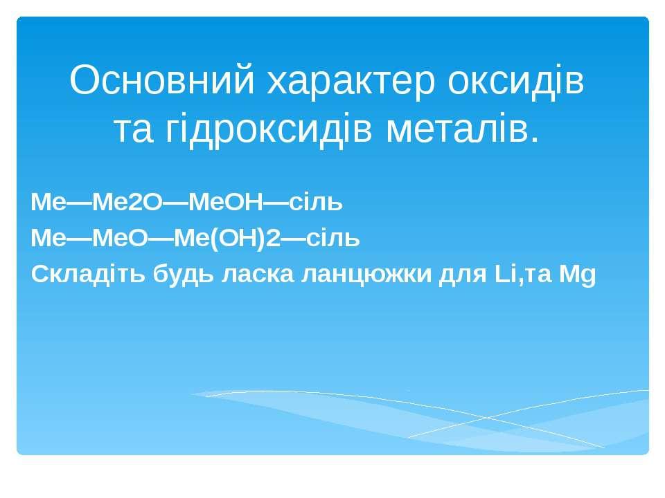 Основний характер оксидів та гідроксидів металів. Ме―Ме2О―МеОН―сіль Ме―МеО―Ме...