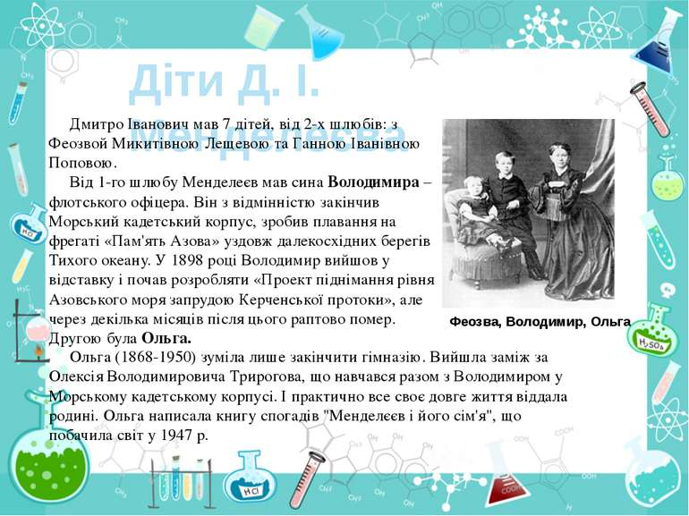 Діти Д. І. Менделеєва Дмитро Іванович мав 7 дітей, від 2-х шлюбів: з Феозвой ...