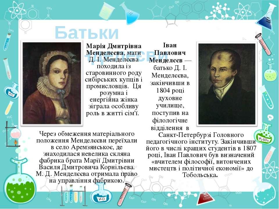 Батьки Менделеєви Марія Дмитрівна Менделєєва, мати Д. І. Менделєєва походила ...