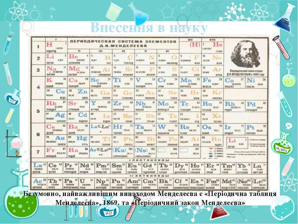 Внесення в науку Безумовно, найважливішим винаходом Менделеєва є «Періодична ...