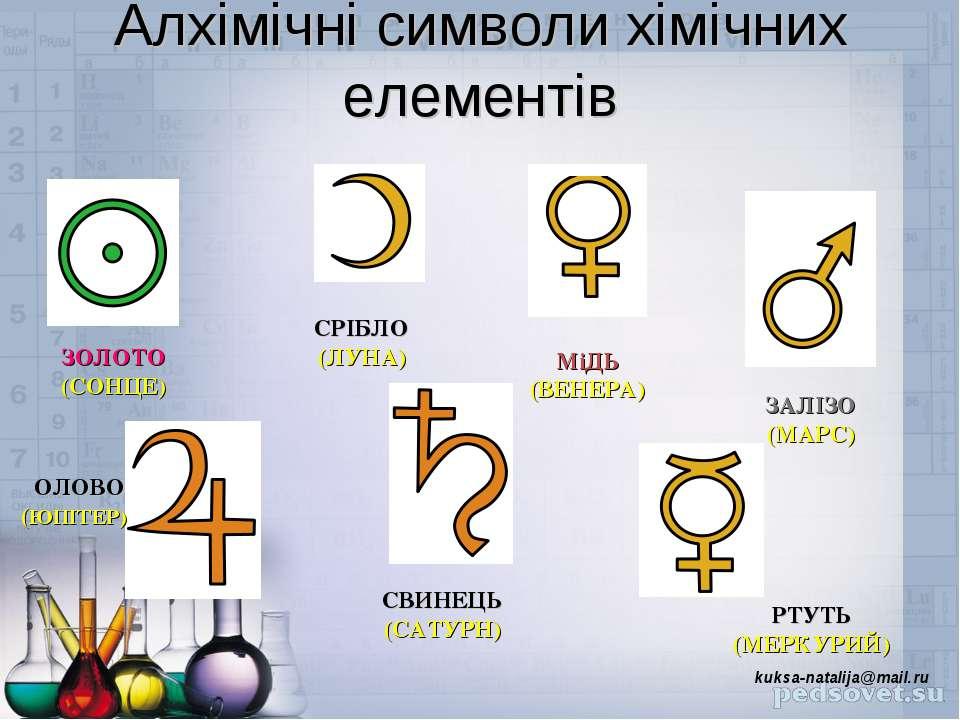 Алхімічні символи хімічних елементів ЗОЛОТО (СОНЦЕ) СРІБЛО (ЛУНА) МіДЬ (ВЕНЕР...