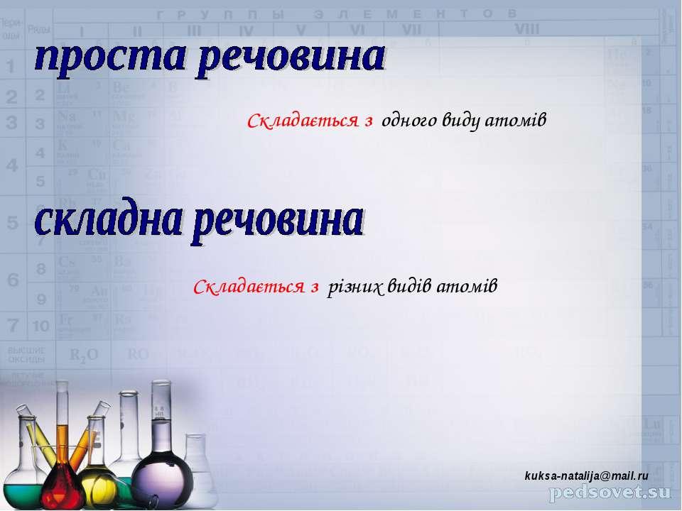 Складається з одного виду атомів Складається з різних видів атомів kuksa-nata...