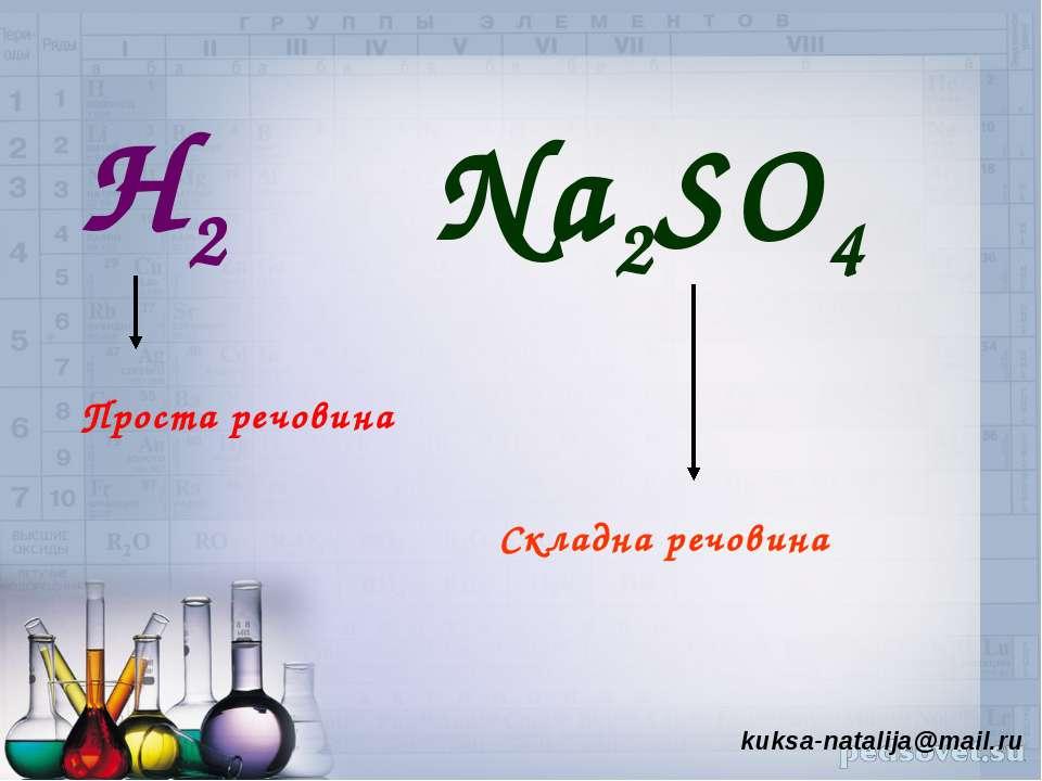 Н2 Na2SO4 Проста речовина Складна речовина kuksa-natalija@mail.ru