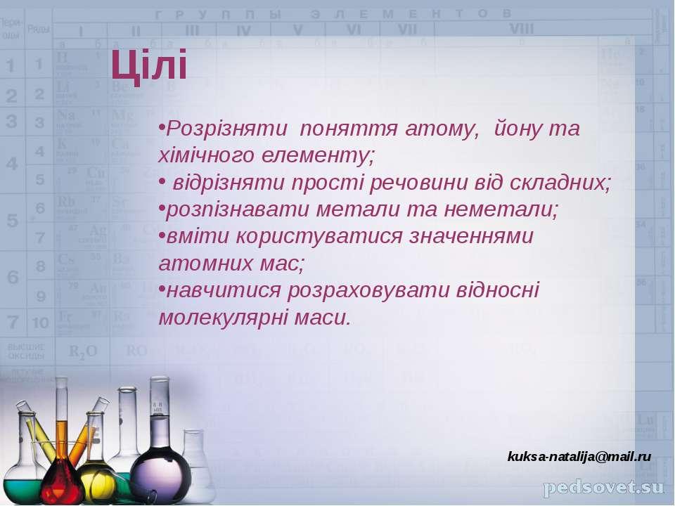 Цілі kuksa-natalija@mail.ru Розрізняти поняття атому, йону та хімічного елеме...