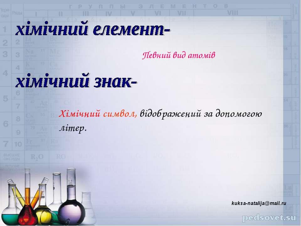 Певний вид атомів Хімічний символ, відображений за допомогою літер. kuksa-nat...