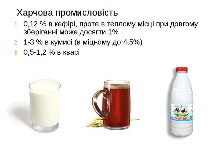 Харчова промисловість 0,12 % в кефірі, проте в теплому місці при довгому збер...