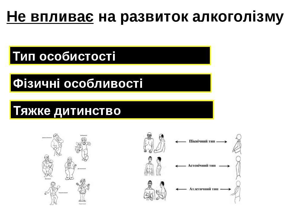 Тип особистості Тяжке дитинство Фізичні особливості Не впливає на развиток ал...