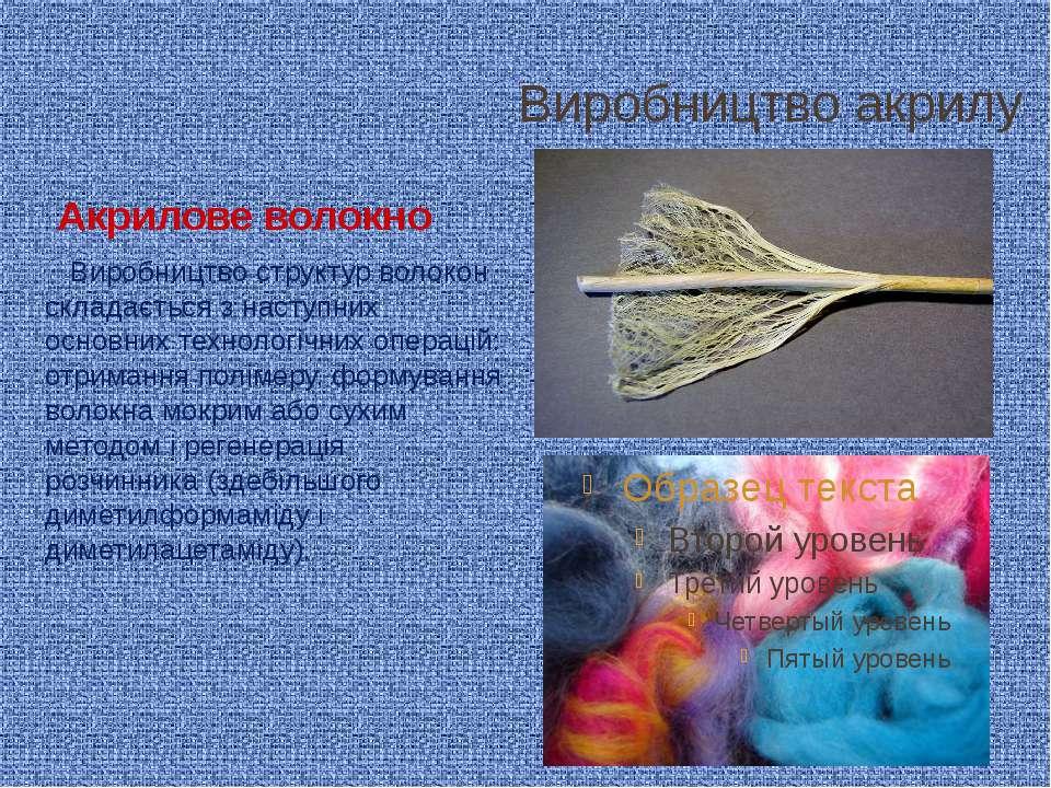 Виробництво акрилу Акрилове волокно Виробництво структур волокон складається ...