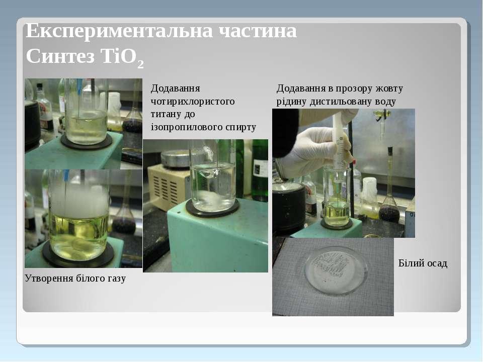 Додавання чотирихлористого титану до ізопропилового спирту Утворення білого г...