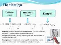 (-NH-(CH2)6-N-C-(CH2)4-C-)n H O О (-NH-(CH2)6-C-)n О Поліаміди (-C-NH-(CH2)5-...