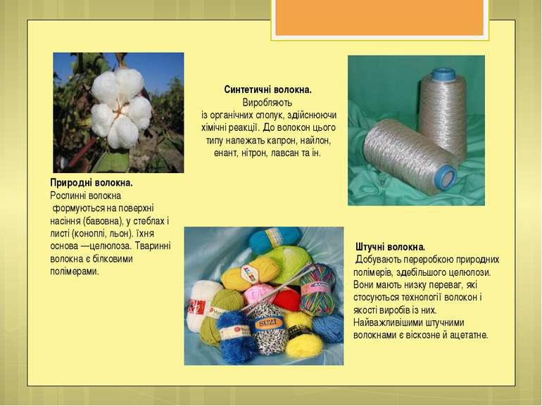 Природні волокна. Рослинні волокна формуються на поверхні насіння (бавовна), ...