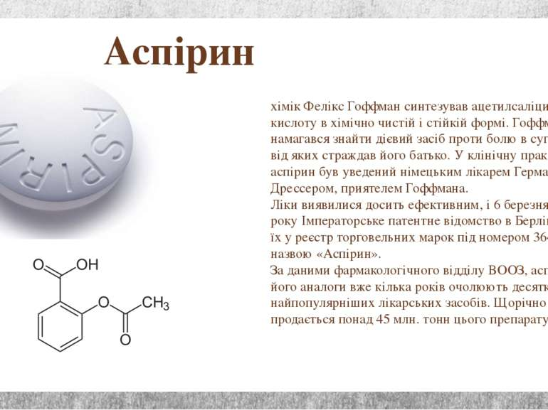 Аспірин хімік Фелікс Гоффман синтезував ацетилсаліцилову кислоту в хімічно чи...