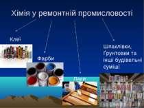 Хімія у ремонтній промисловості Клеї Фарби Лаки Шпаклівки, Ґрунтовки та інші ...