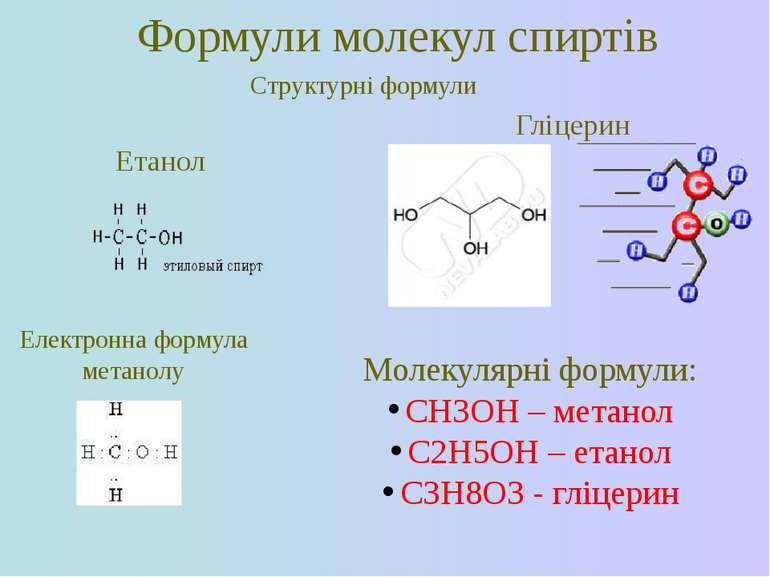 Формули молекул спиртів Структурні формули Етанол Гліцерин Електронна формула...