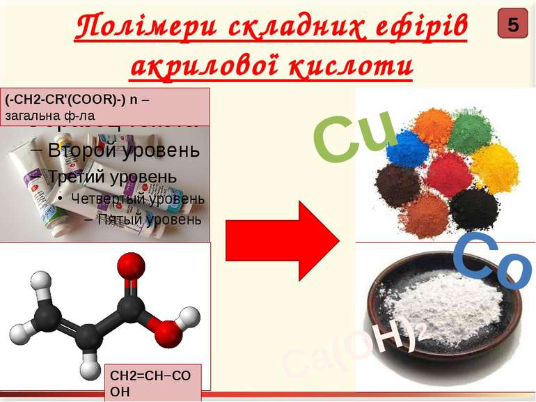 Полімери складних ефірів акрилової кислоти Сu Co Са(ОН)2 5 (-CH2-CR'(COOR)-) ...