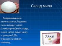 Склад мила Стеаринова кислота, натрію пальмітат,Лауринова кислота,стеарат нат...