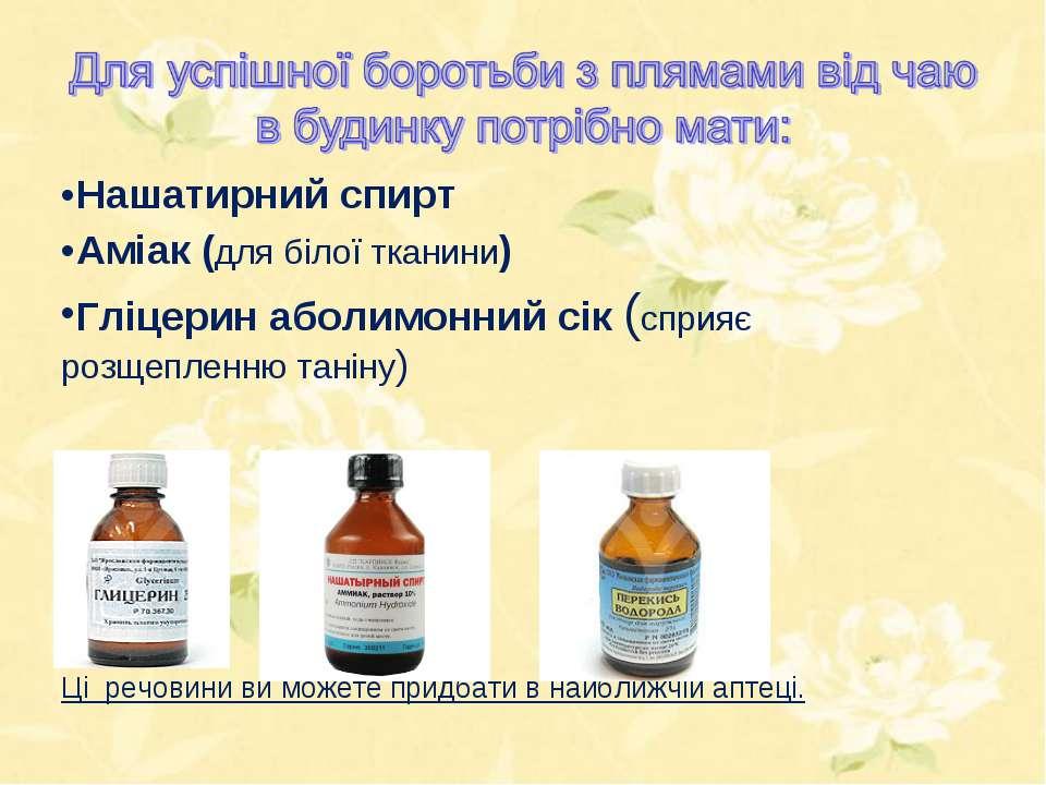 Нашатирний спирт Аміак (для білої тканини) Гліцерин аболимонний сік (сприяє р...