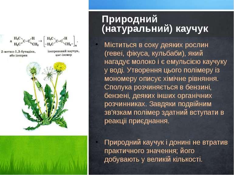 Міститься в соку деяких рослин (гевеї, фікуса, кульбаби), який нагадує молоко...