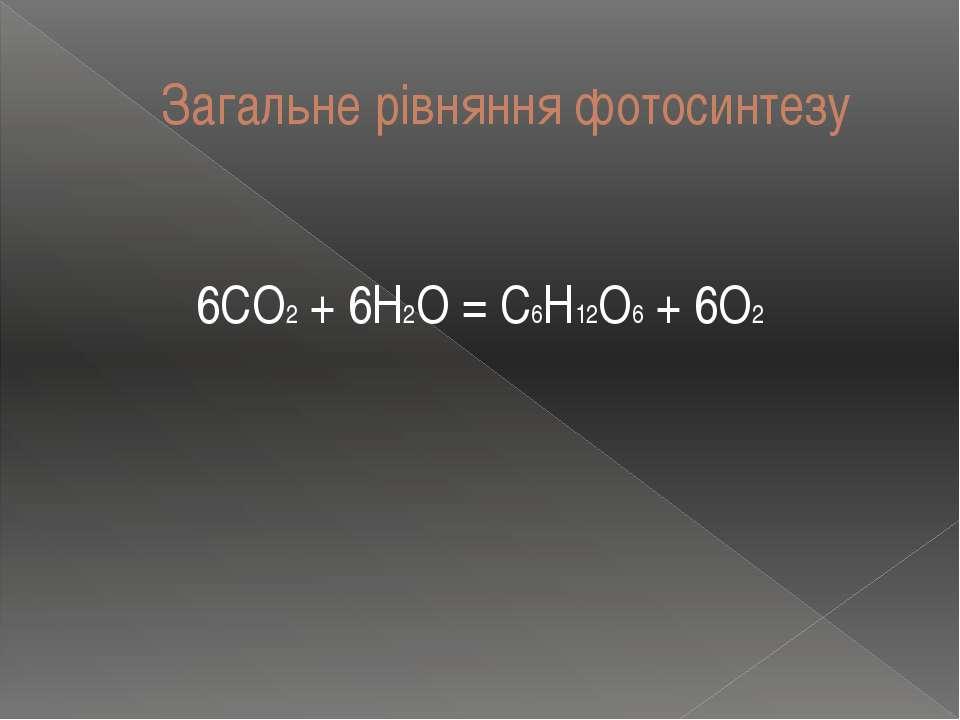 Загальне рівняння фотосинтезу 6CO2 + 6H2O = C6H12O6 + 6O2