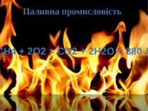Паливна промисловість СН4 + 2О2 = СО2 + 2Н2О + 880 Дж
