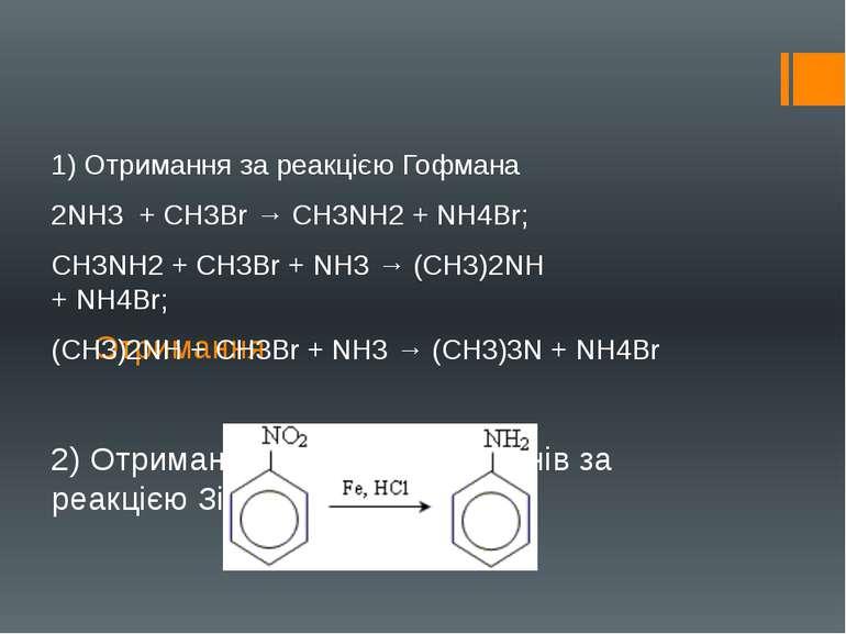 Отримання 1) Отримання за реакцією Гофмана 2NН3 +СН3Br→СН3NН2+NН4Br; СН...