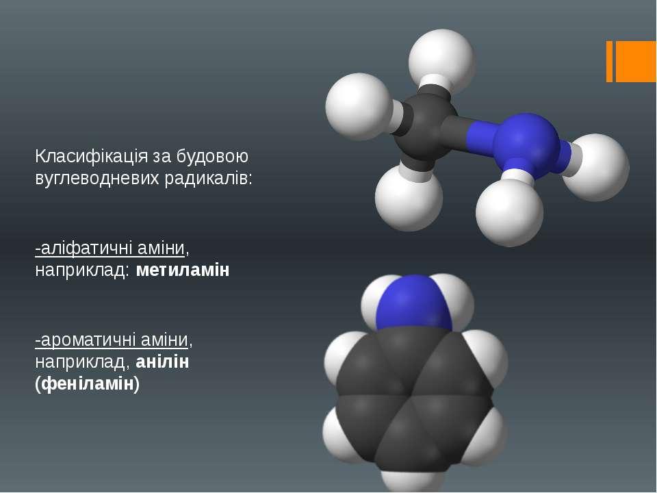 Класифікація за будовою вуглеводневих радикалів: -аліфатичні аміни, наприклад...