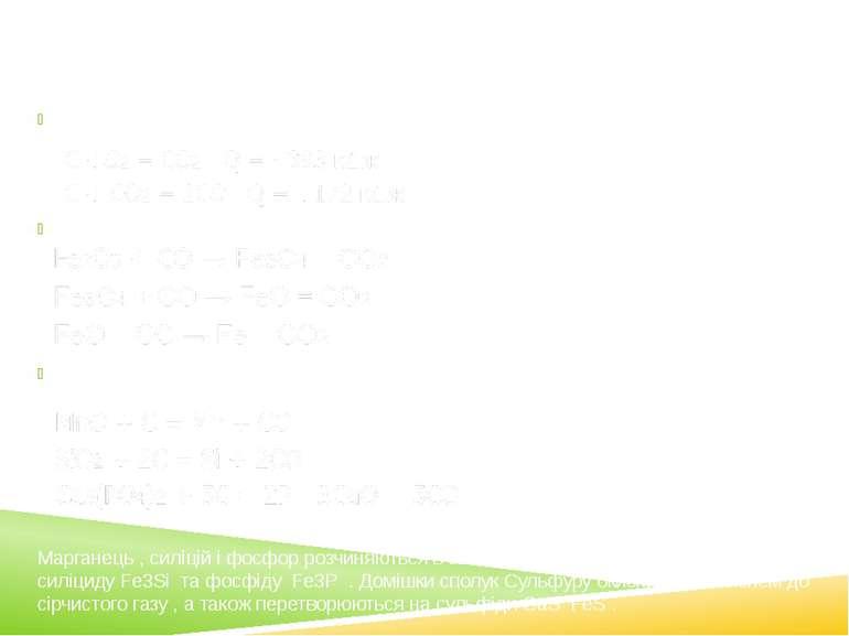 Етапи доменного процесу 1.Горіння коксу та утворення карбон(ІІ) оксиду 2. Від...