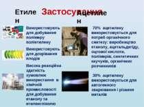 Застосування Етилен Ацетилен Висока реакційна здатність зумовлює використання...