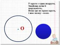 У круга є одна подруга, Знайома всім її наружність, Вона іде по краю круга, і...