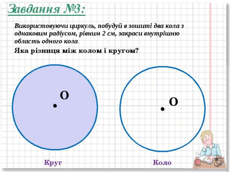 Круг Коло Яка різниця між колом і кругом? O O Завдання №3: * Використовуючи ц...
