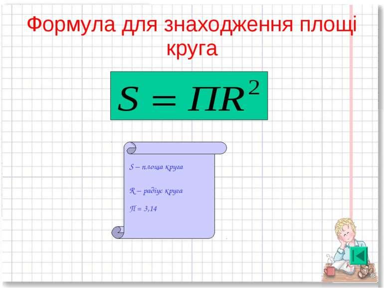 Формула для знаходження площі круга S – площа круга R – радіус круга П = 3,14
