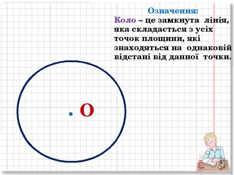 О Означення: Коло – це замкнута лінія, яка складається з усіх точок площини, ...