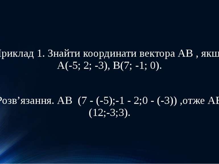 Приклад 1. Знайти координати вектора АВ , якщо А(-5; 2; -3), B(7; -1; 0). Роз...