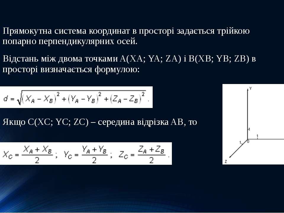 Прямокутна система координат в просторі задається трійкою попарно перпендикул...