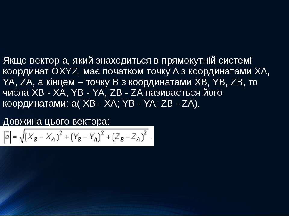 Якщо вектор a, який знаходиться в прямокутній системі координат OXYZ, має поч...