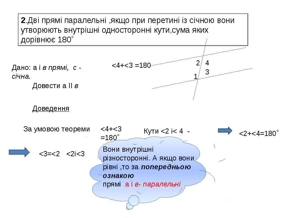2.Дві прямі паралельні ,якщо при перетині із січною вони утворюють внутрішні ...