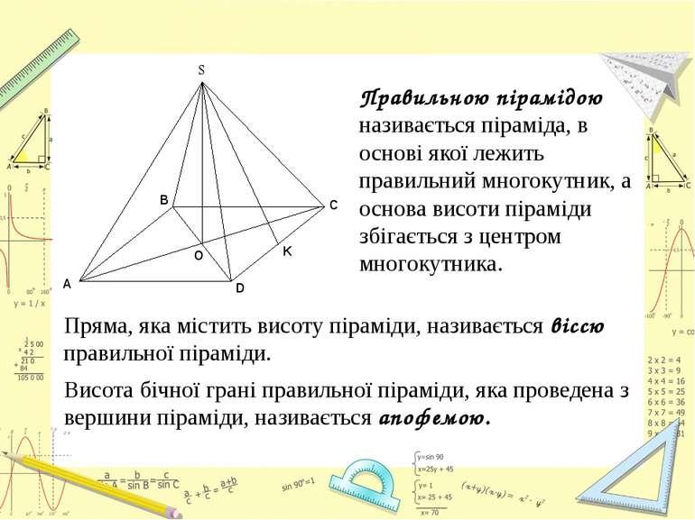 Правильною пірамідою називається піраміда, в основі якої лежить правильний мн...