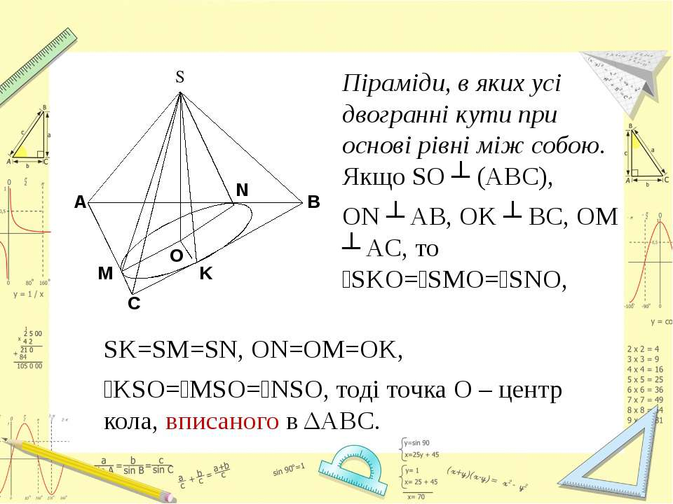 Піраміди, в яких усі двогранні кути при основі рівні між собою. Якщо SO ┴ (AB...
