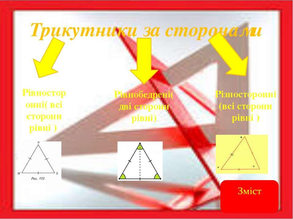 Трикутники за кутами Гострокутній(всі кути гострі) Прямокутні(один кут прямий...
