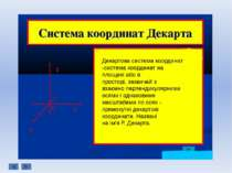 Декартова система координат -система координат на площині або в просторі, ...