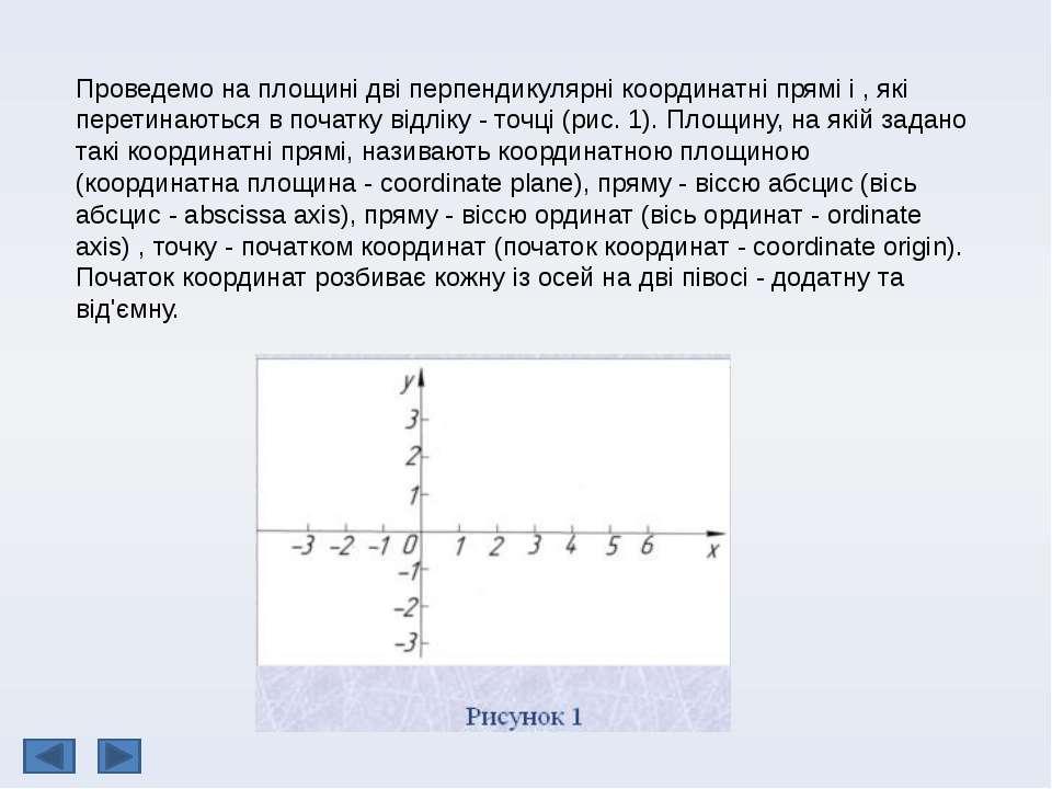 Проведемо на площині дві перпендикулярні координатні прямі і , які перетинают...