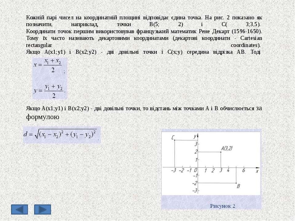 Кожній парі чисел на координатній площині відповідає єдина точка. На рис. 2 п...