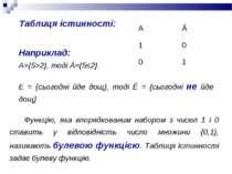 Наприклад: А={5>2}, тоді Ā={5≤2}. Е = {сьогодні йде дощ}, тоді Ē = {сьогодні ...