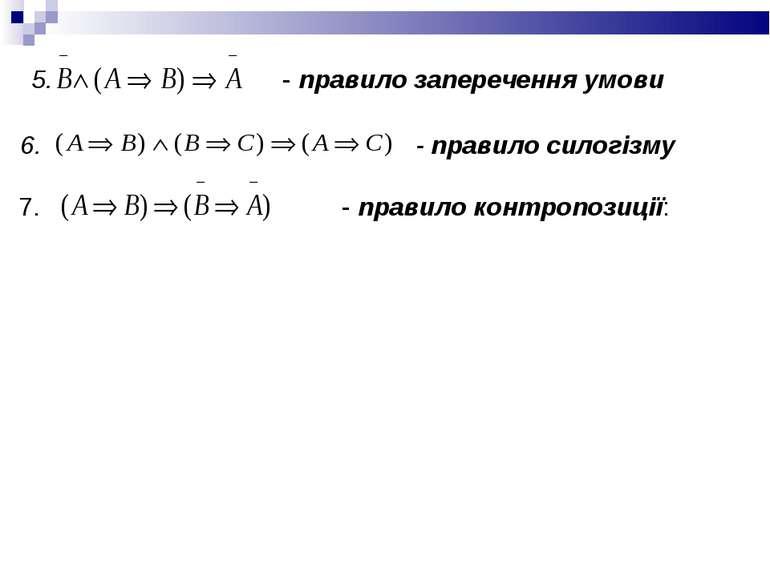 5. - правило заперечення умови 6. - правило силогізму 7. - правило контропози...