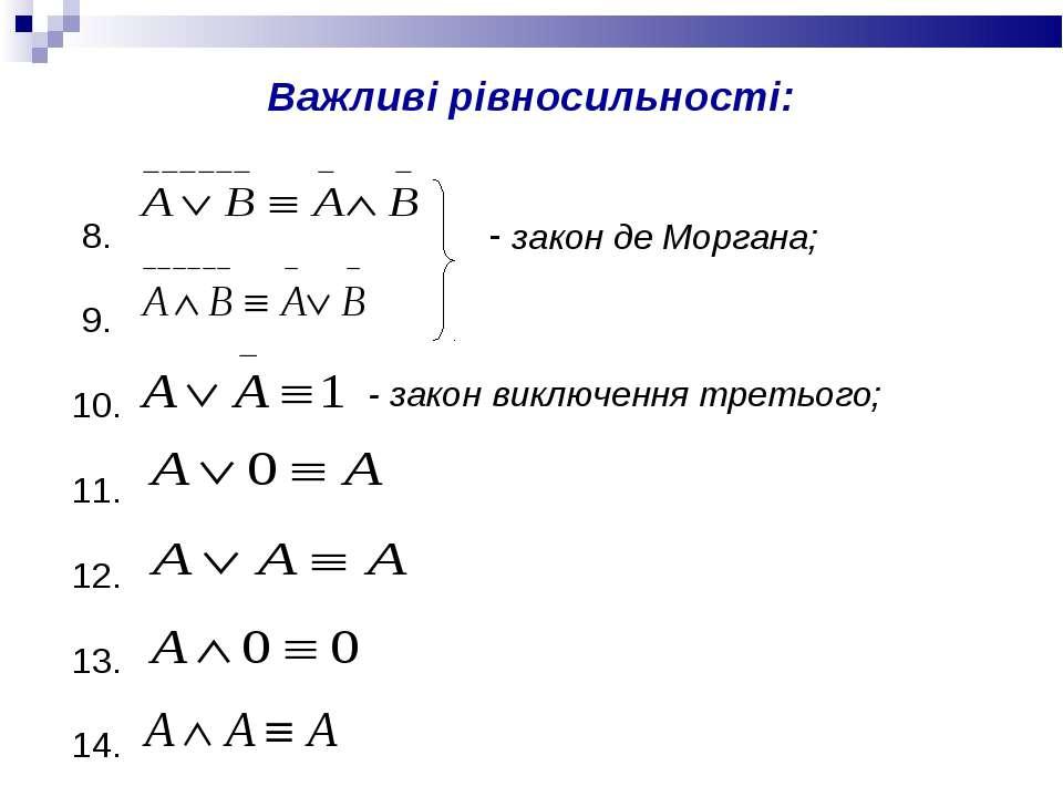 Важливі рівносильності: 8. 9. 10. 11. 12. 13. 14. - закон виключення третього;